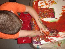 boy making a painting